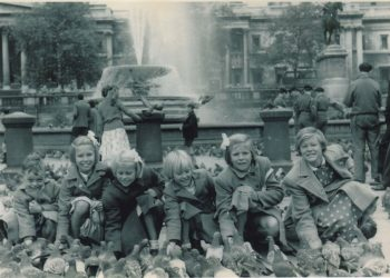 Six Batten Children in Trafalgar Square England